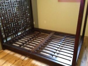 Beautiful queen size canopy bed with Asian lattice headboard