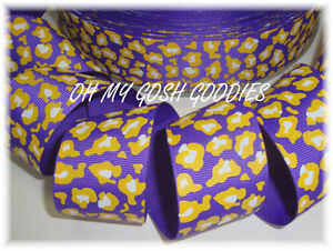 1-5-PURPLE-YELLOW-GOLD-LEOPARD-TIGER-GROSGRAIN-RIBBON-4-HAIRBOW-CHEER-BOW-5YD
