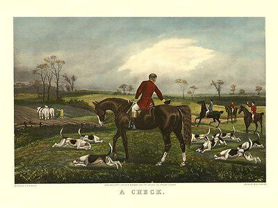 Horse A Check Fox Hunting 12x16 Repro.engraving Poster Free Shipping In Usa