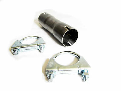 """STAINLESS STEEL 304  2.5"""" 63MM CLAMP ON EXHAUST CONNECTOR SLEEVE PIPE JOINER"""