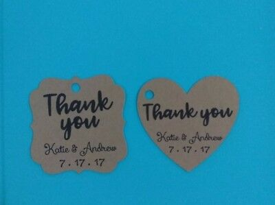 30 Personalized Wedding /Bridal Shower thank you favor tags. You choose shape!
