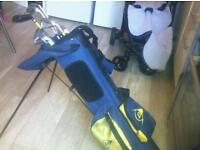 Child's Dunlop golf clubs and bag