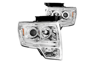 Phares avant (HEADLIGHT) + Halo chrome F150 2009-2014