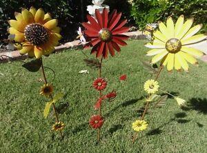 Sunflower daisy garden decor yard stake yellow red daisy sunflower new