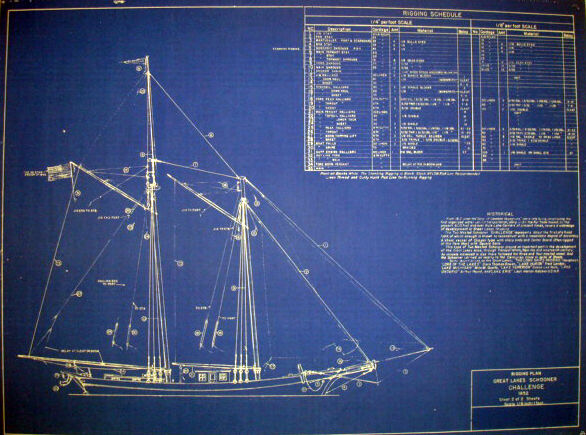 Great Lakes SCHOONER Challenge 1852 Print Blueprint Plan 18 x 23 (222)