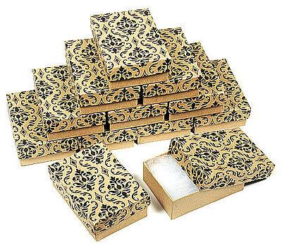 "(12) Damask Print Kraft 3 1/4"" X 2 1/4"" Cotton Filled Jewelry Gift Boxes"