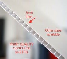 WHITE 5MM PRINT QUALITY CORFLUTE SHEETS - SEVERAL SIZES AVAILABLE Smithfield Parramatta Area Preview