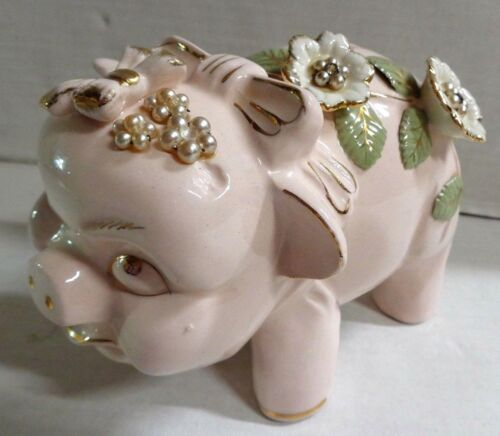 Vintage Tilso Hand Painted Pink Pig Piggy Bank Flowers Bow Japan 52/615