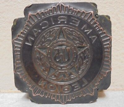 Vintage American Legion Metal Wood Letterpress Printing Block Type Nice
