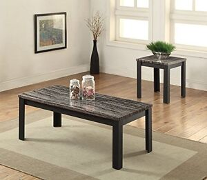 Arabia Faux Marble And Black 2pc Pack Coffee End Table Set 82134 New