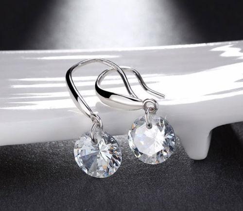 CZ Elements Crystal Threader String Sterling Silver Dangle Earrings CZ Earrings Earrings