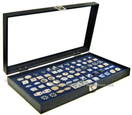 6 Wholesale Glass Top Lid Blue Cufflinks Display Mens Jewelry Organizer Cases