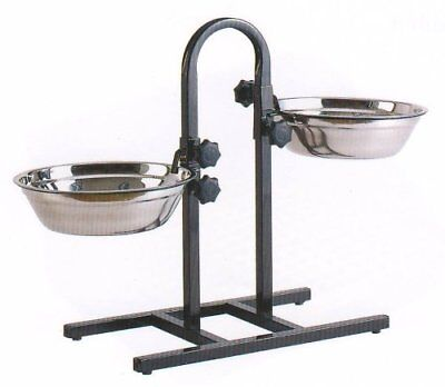 5 Quart Adjustable Raised Double Stainless Steel Dog Diner Bowls Food Water 369