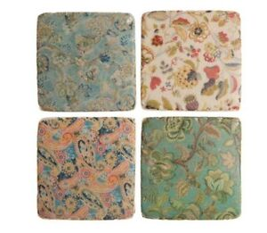 New french shabby chic set of 4 ceramic tile coasters for Shabby chic wall tiles