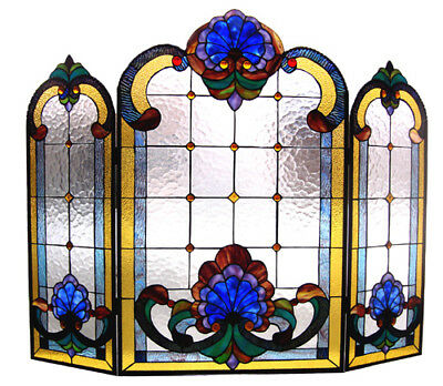 Tiffany Style Fireplace Screen Victorian Stained Glass 3 Section ONE THIS PRICE