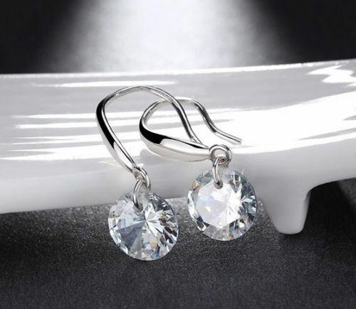 18K White Gold Plated Drop Dangle Stud Earrings Cubic Zirconia Jewelry Elements Earrings