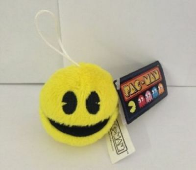 """PAC-MAN NAMCO PAC-MAN PLUSH KEYCHAIN NEW WITH TAGS 2 1/2"""""""