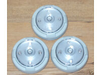 3 x VIATEK STICK'EM LIGHT 5 SUPER BRIGHT LEDs TIMER DIMMER PIVOTING HEAD BARGAIN