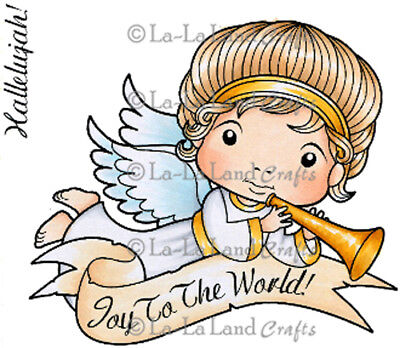New La La Land Crafts ANGEL LUKA WITH HORN Cling Rubber Stamp Boy Kid Christmas