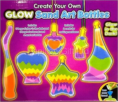 Childrens Glow In The Dark Sand Art/Bottle Set Make Your Own Activity Craft Kit