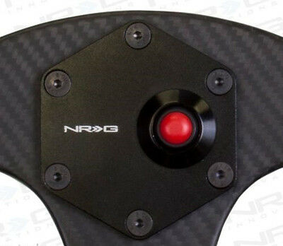 NRG Aluminum Steering Wheel Horn Button Black Cover Plate with Red Button