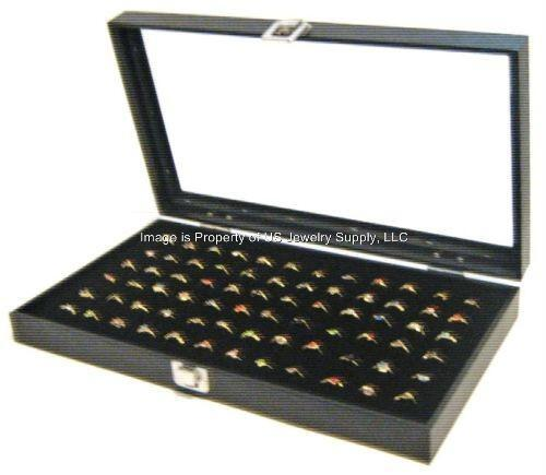 Wholesale Lot of 4 Glass Top Lid 72 Ring Black Jewelry Display Organizer Cases