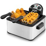 Gourmia GDF450 Stainless Steel Deep Fryer 3 Baskets, Dual Thermostat & Timer