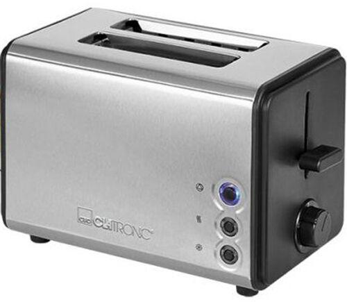 Clatronic Toaster Edelstahlgehäuse Edelstahl schwarz inox mit Brötchenaufsatz