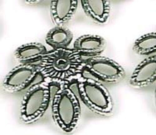 12 Large Antique Silver Pewter Flower Bead Caps 20mm