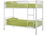 Bunk Bed, Metal Bed, Silver, Ortho, Mattress, Single Bed, X2, Silver, White, Sturdy, bed frame,