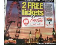 The Sun 2 X London Eye Tickets, Booking Form And All 10 Tokens @ £11