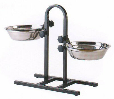 2 Quart Adjustable Raised Double Stainless Steel Dog Diner Bowls Food Water 391