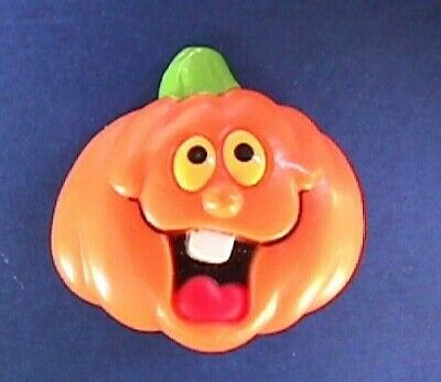 Russ PIN Halloween Vintage PUMPKIN Funny Face JOL Holiday Brooch STICKER NEW