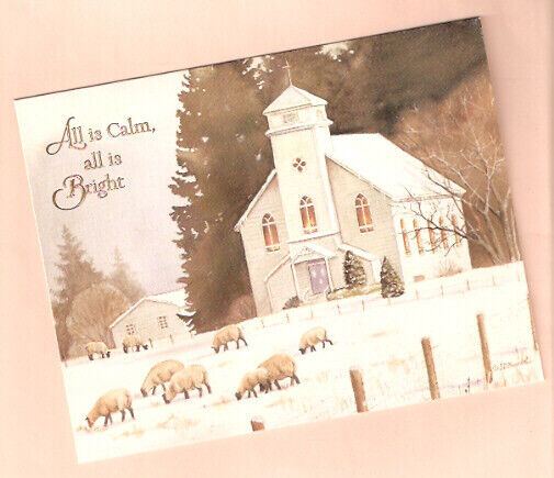 Sheep Lamb Church Snow All is Calm Christmas Cards Box of 18 by Lang*