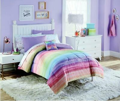 Girls Twin Bed (Rainbow Ombre Stripes Girls Colorful Twin Comforter Set (6 Piece Bed In A)
