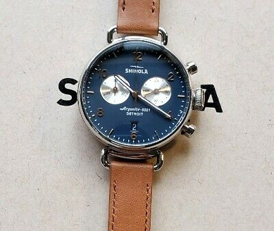 Shinola Canfield Watch with 38mm Blue Chrono Face & Lighter Brown Leather Band
