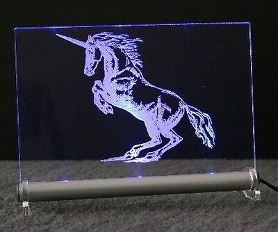 Gravurschild Einhorn LED Leuchtschild - fantasy Unicorn