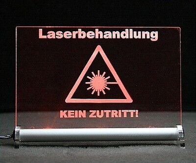 Laserbehandlung kein Zutritt Leuchtschild Warnschild Praxisschild Vorsicht Laser