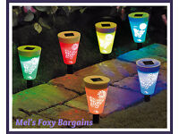 Set Of 6 Butterfly Solar Stake Lights-New Stock