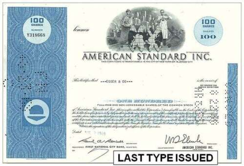 LOT 100 BLUE AMERICAN STANDARD STOCKS @ 37c! ADD 100 OLD GREEN @ 37c NO ADD SHIP
