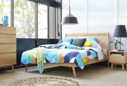 Queen timber bed with Mattress