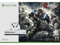White Xbox one s 1tb model with all gears of wars