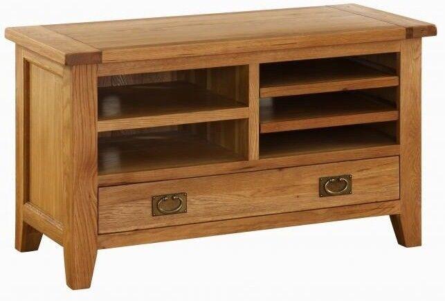 TV Media Cabinet. Vancouver Oak 110cm Wide. VXE003   TV Cabinet With Drawer