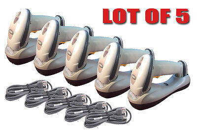 Lot Of 5 Symbol Ls4278 Wireless Cordless Barcode Scanner Bluetooth White Laser