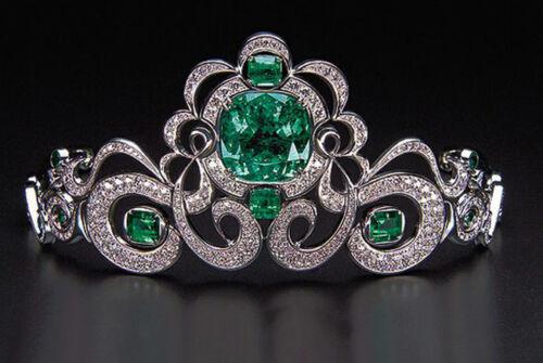 10.50ct Rose Cut Diamond Antique Look 925 Silver Wedding Emerald Gemstone Tiara