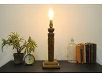 Antique Oak Arts & Crafts Carved Poker Work Table Lamp
