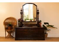 Antique Large Mahogany Dressing Table Top Mirror