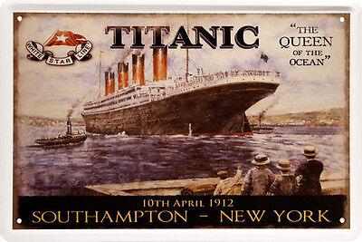 Titanic Southhampton - New York 1912 20 x 30 cm Nostalgie Deko Blechschild 566 online kaufen
