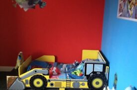 Childs digger bed, with bedside table, mattress and bedding