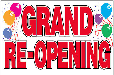 18x36 Inch Grand Re-opening Vinyl Banner Sign - Balloons Wb